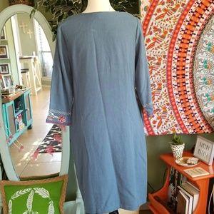Hidden Alley Dresses - Steel Blue Embroidered Linen Nursing Dress
